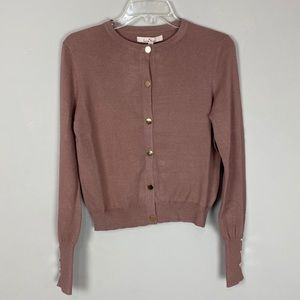 Button up cardigan sweater rose gold buttons